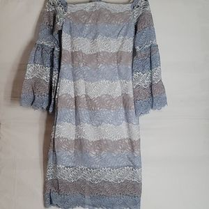 Alexia Admor Casual Lace Bell Sleeve Blue Dress 4